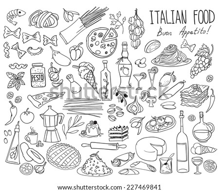 Set of doodles, hand drawn rough simple Italian cuisine food sketches. Isolated on white background