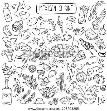 Set of doodles, hand drawn rough simple mexican cuisine food sketches. Isolated on white background - stock vector