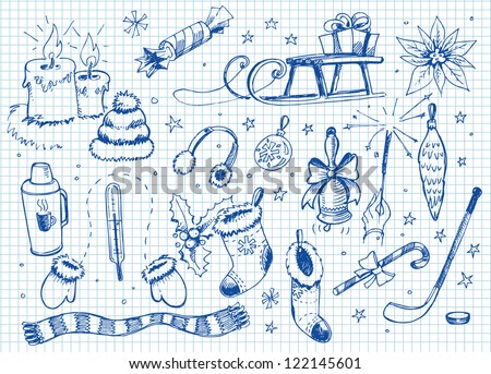 Set of doodles. winter - stock vector