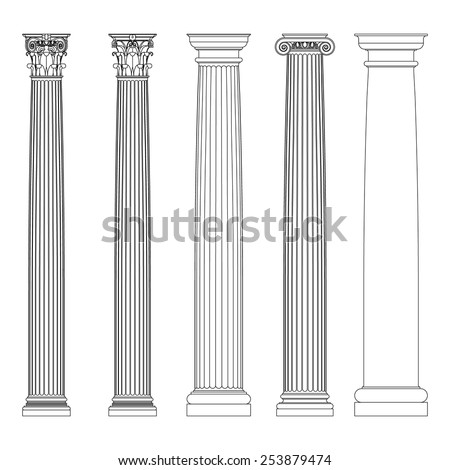 Set Doric Ionic Corinthian Columns Classic Stock Vector
