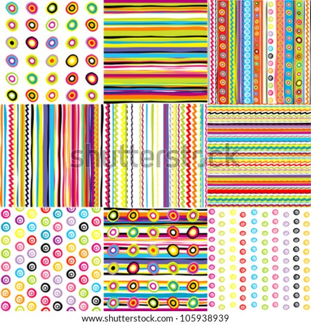 Set of doted and striped backgrounds for kids - stock vector