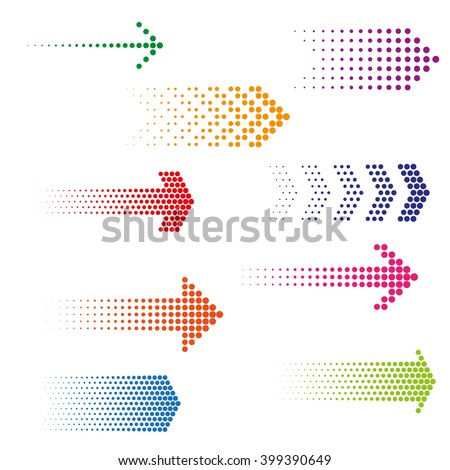 Set of dotted arrows. Halftone effect vector templates - stock vector