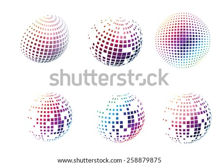 Set of dotted colorful square spheres. Vector illustration - stock vector