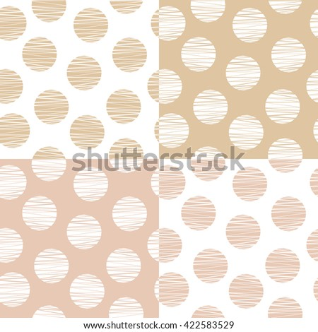Set of 4 dotted seamless wallpaper patterns in soft colors. Vector illustration for fabrics, textiles, wallpapers, linens, clothing, covers, web backgrounds, surface textures, etc. - stock vector