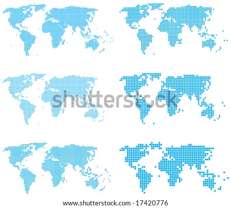 Set of dotted (6 sizes, square dots) world maps