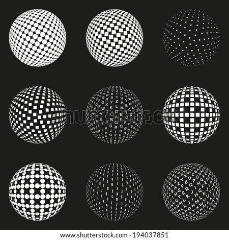 Set of dotted spheres