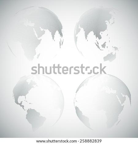 Set of dotted world globes, light design vector illustration.  - stock vector