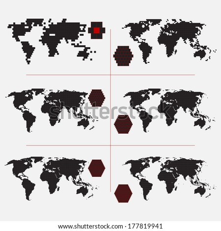 Set of dotted world maps in different resolution  - stock vector