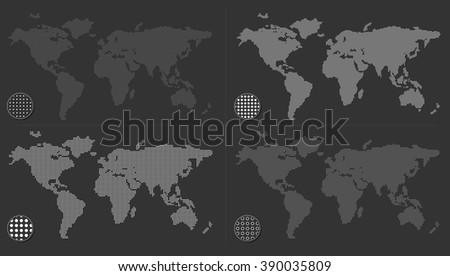 Set of dotted world maps on dark background