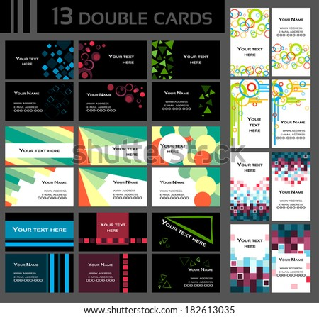 Set of double business cards, colorful, includes front and back of a card,