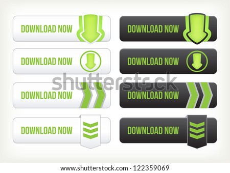 Set of download buttons - stock vector