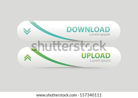 Set of download buttons with modern clean design. - stock vector