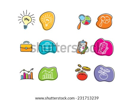 Set of drawing finance stickers icon carton design style - stock vector