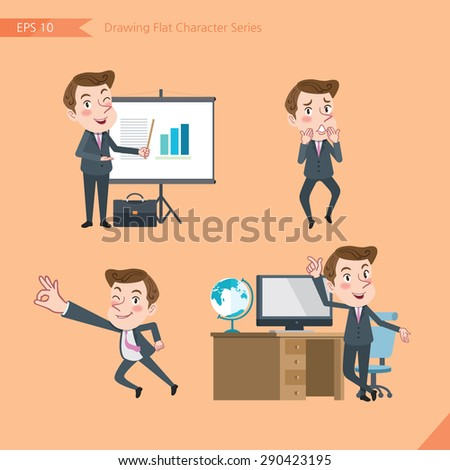 Set of drawing flat character style, business concept young office worker activities - presentation, Surprised, ok sign, troubleshooter  - stock vector