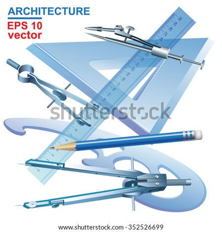 Set of Drawing Tools. Engineering symbol. Vector clip-art - stock vector