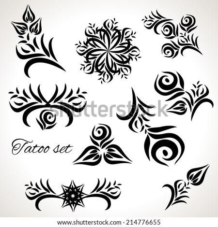 Set of drawings for tattoos, floral motifs - stock vector