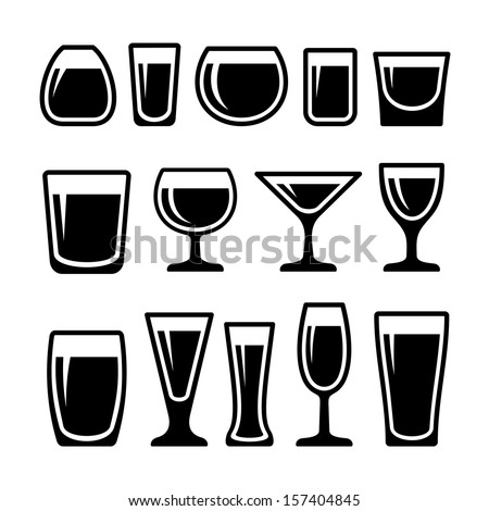 Set of drink glasses icons - stock vector