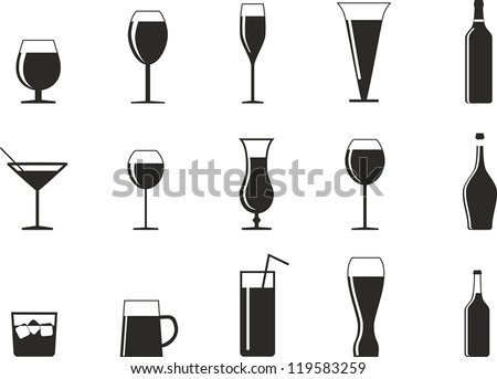 set of drink glasses in the form of icons for design - stock vector