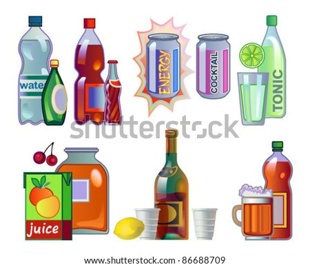 Set of drinks in bottles and cans - stock vector