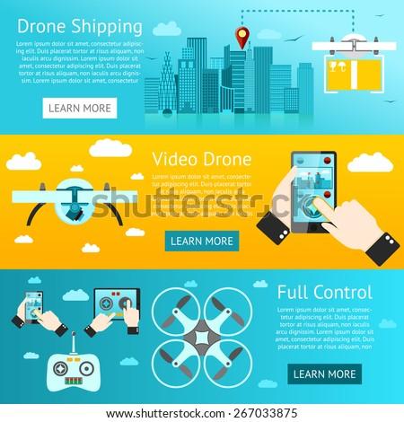 Set of drone banners - shipping, surveillance, control. Vector - stock vector