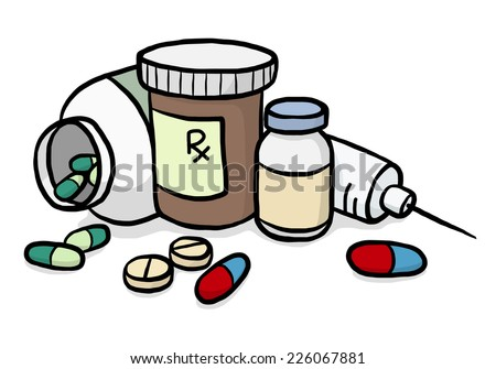 Syrup Drug Drawing Set of Drugs / Cartoon Vector