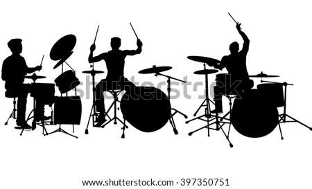 Set of drummer silhouette  - stock vector