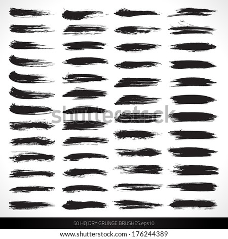 Set of dry vector grunge brushes  for design and painting. Design elements. Vector brushes. Watercolor brushes. Ink brushes. Abstract shape. Retro background. Vintage background - stock vector