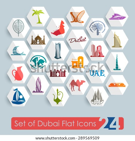 Set of Dubai flat icons for Web and Mobile Applications