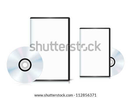Set of DVD cases with a blank cover and shiny DVD disk. Vector