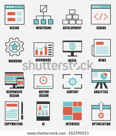 Set of e-commerce and internet service icons. Outline design style - vector icons - stock vector