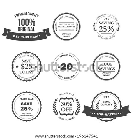 Set of E-commerce Sale labels, badges and design elements - stock vector