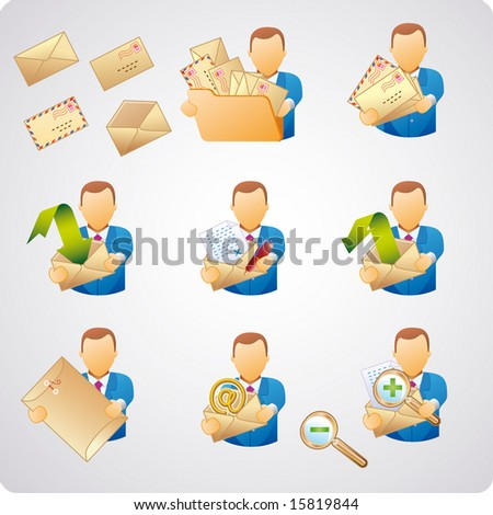 set of e-mail users, good for web-design, business concepts and computer icons - stock vector