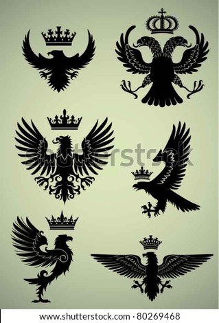 Set of eagle and crown - stock vector
