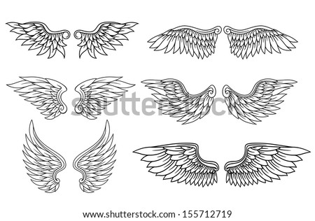 Set of eagle or angel wings for heraldry and tattoo design. Jpeg (bitmap) version also available in gallery
