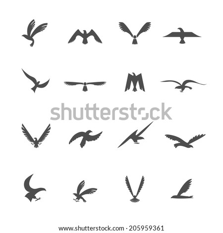 Set of eagles heraldic silhouette wings and bird icons set vector illustration - stock vector