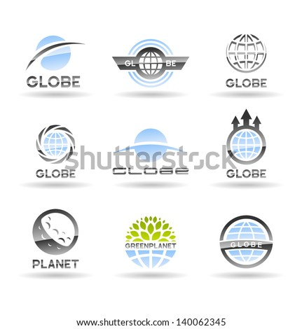 Set of Earth globe icons. - stock vector