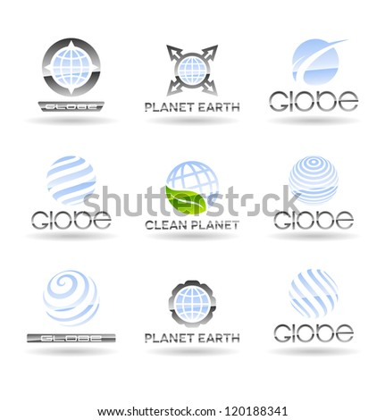 Set of Earth globe icons. Vol 2. - stock vector
