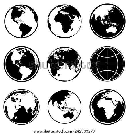 Set of earth planet globe icons for web and app. Vector. - stock vector