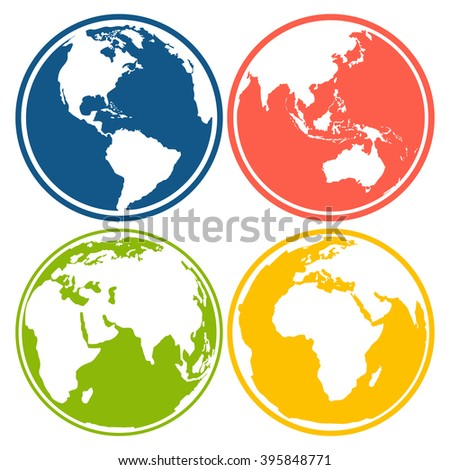 Set of earth planet globe logo icons for web and app. Vector travel, earth planet concept on white background - stock vector
