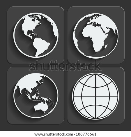 Set of earth planet globe web and mobile icons in flat design with long shadow. Vector. - stock vector