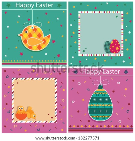 set of easter card decorations with copy space
