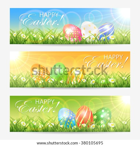 Set of Easter cards with colored eggs in grass and bright sun, illustration. - stock vector