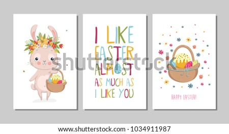 Set easter cards cute bunnies lettering stock vector 1034911987 set of easter cards with cute bunnies and lettering easter greetings cards with bunny m4hsunfo