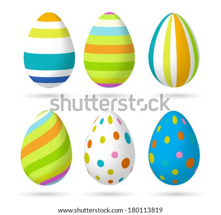 Set of Easter colorful eggs  - stock vector