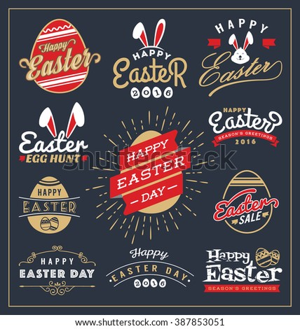 Set of Easter day typography badge and labels design. Happy Easter Day Typographic and element collections. Vector illustration - stock vector