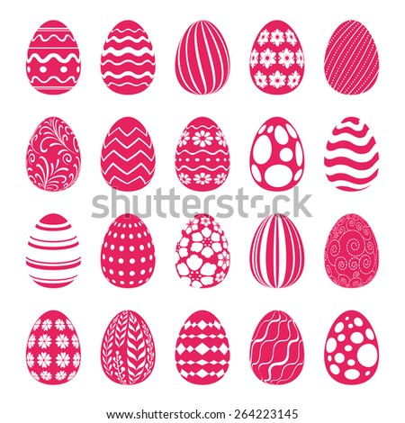 Set of Easter eggs decorated with geometric and floral ornaments. Holiday symbols for design.  - stock vector
