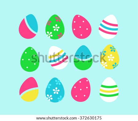Set of easter eggs isolated on blue background - stock vector