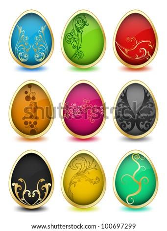 Set of easter eggs. Vector - stock vector