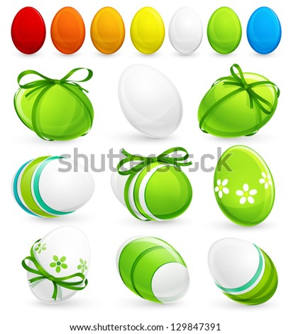 Set of easter eggs. Vector - stock vector