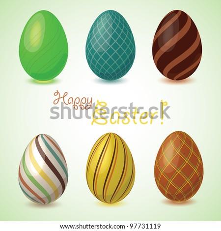 Set of easter eggs, vector - stock vector